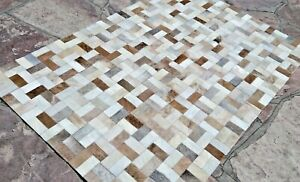 NEW COWHIDE PATCHWORK CARPET AREA RUG Cow hide LIGHT BROWNS & WHITE 4ft x 6ft