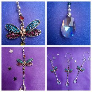 Rhinestone Dragonfly with Teardrop Rainbow Crystal Sun Catcher Silver Mobile
