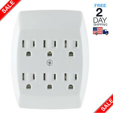 Grounded Sockets Electrical Outlet Multiple 6 Plug Extender Wall Adapter Switch