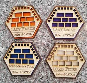 New Settlers of Catan Game Piece Holders, Set Of 4  Custom NAME and COLORS