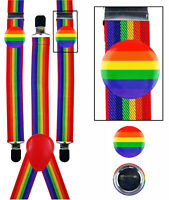 Rainbow Gay LGBT Pride Braces Suspenders Carnival Fancy Dress Costume + 2 PINS
