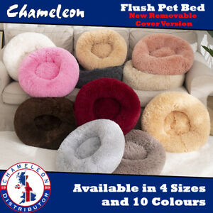 Round Pet Bed Dog Zip Removable Washable Cover Cat Puppy Calming Plush Cushion
