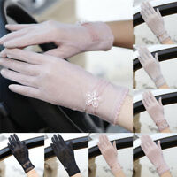 Women Summer Driving Thin Lace Gloves Outdoor Uv Protection One Size New BLDNIU
