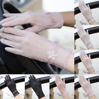 Women Summer Driving Thin Lace Gloves Outdoor Uv Protection One Size New BLD MEU