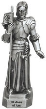 Statue St Joan of Arc 3.5 inch Pewter Silver Figurine Patron Saint Catholic Box