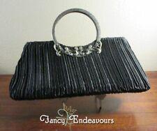 Black Pleated Silk Evening Beaded Purse Bag Bronze Handle Rhinestones.......CEM