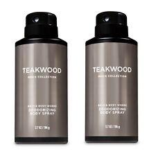 Bath and Body Works TEAKWOOD for Men's Deodorizing Body Spray~3.7 oz.(Lot of 2)