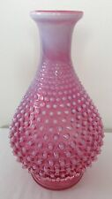 VINTAGE RARE FENTON ART GLASS CRANBERRY OPALESCENT HOBNAIL BOTTLE VASE