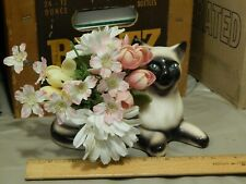 Birman Breed ~ Cat Feline (Ceramic) Planter Vase w/ Faux Flowers ~ Aspca Vtg Ltd