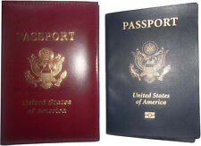 New USA Leather passport case built in wallet credit ATM card case ID holder BN