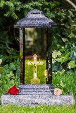 Grablicht 38cm Grablaterne LED Lampe Grableuchte Glas Grabschmuck Kreuz 14