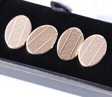 9ct Solid Gold Vintage Oval Engine Turned Cufflinks. Heavy 1959. Gift Boxed
