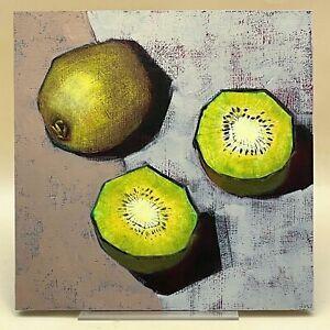A McLaren Still Life Green Kiwi Fruit, Original Art Oil Painting Impressionist