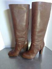 "MICHAEL KORS Lesly $325 18"" knee tan leather platform BOOTS STACKED Heel 7 1/2 M"