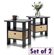 Pair Tables Bedside Drawers Bin Table  End Side Nightstand Shelf Espresso Set 2