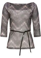 Shirt mit Gurtel Gr. 44/46 Grau Damenshirt Halbtransparent Bluse Top Tunika Neu`