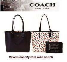 COACH 57668 Navy & Chalk Floral Reversible City Tote Handbag Shoulder Bag NWT