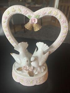 Vintage Porcelain Wedding Topper With Doves And Bells- LEFTON