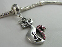 SILVER CAT DANGLE CHARM WITH RHINESTONES FOR EUROPEAN STYLE CHARM BRACELETS #122