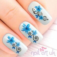 Blue Flower Water Decal Nail Art Stickers, Decals, Tattoos