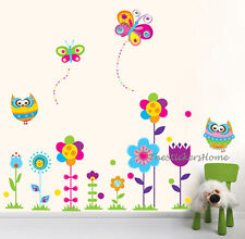 Colourful Owls Flower Tree Butterfly Wall Stickers Kids Nursery Floral Art Decal