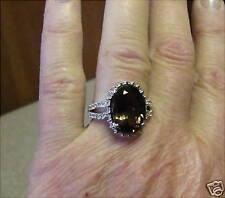 NEW 5.35 CT WHITE GOLD SMOKEY TOPAZ/DIAMOND RING size 7 retail $1630