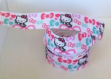 2 Metre Cute Pink Hello Kitty Daisy Print Kawaii Grosgrain 10mm Ribbon UK SELLER