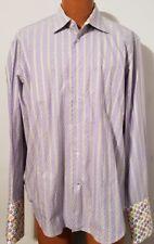 Robert Graham Mens Long Sleeve Shirt Lavender Green Stripes Dogs Flip Cuff L/XL