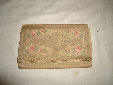 Petite pochette, minaudière femme ancienne tissu et fil irisé décor fleurs