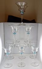 12 Steuben Art Glass Wine Goblets - Flared Bowls w/Light Blue Finger Guards