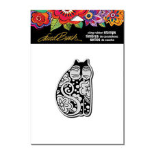 LAUREL BURCH RUBBER STAMPS CLING FLOWERING FELINE NEW cling STAMP