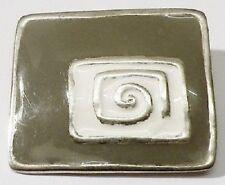 broche rétro rectangle émail beige et gris bijou vintage couleur argent *4232