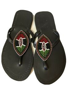 African Maasai Handmade Womens Leather Beaded Sandals Sz 9 NWOB