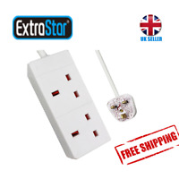 Extrastar Extension Lead 2 Way/Gang Without Switch 13A Fused UK Plug (1M, White)