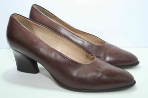 """Enzo Angiolini Chestnut Brown Leather Pumps 2.5"""" Heels Size 8 M Vero Cuoio"""