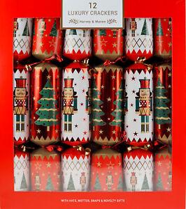 Deluxe Nutcracker Metallic Christmas Crackers (Set of 12)