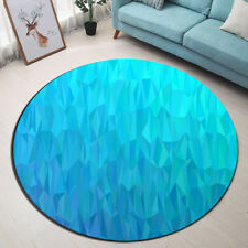 Blue Lozenge Effect Round Yoga Mat Living Room Area Rugs Floor Rug Soft Carpet
