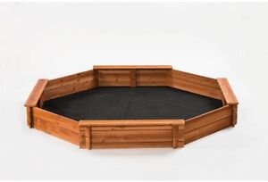Sandbox Kit 6.5 ft. x 7 ft. Wood Freestanding with Cover and Wide Seat Boards
