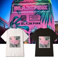 KPOP BLACK PINK T-Shirt Print Flower Shirt Loose Short Sleeves Unisex Top Tee