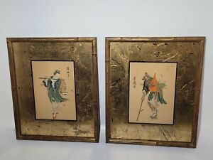 2 ANTIQUE ASIAN PAINTINGS-SIGNED-CHINESE?JAPANESE? PEOPLE?ON PAPER?FRAMED-NR!