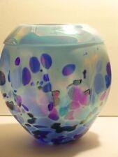 "EXQUISITE 8"" BLUE Blown Glass BASKET VASE Spotted Iridescent Raspberry COBALT"