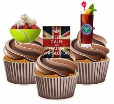 Strawberries Pimm's Tennis Wimbledon Themed 12 Edible Wafer Cup Cake Toppers