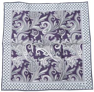"""Brioni Handkerchief Pocket Square 100% Silk 32x32cm / 12.6""""x12.6"""" Paisley"""