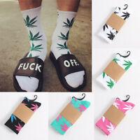 Mens High Quality Cotton Socks Fashion Marijuana leaf Casual Long Weed Sock 7-12