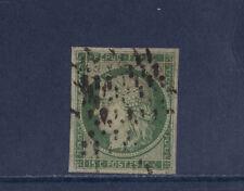 timbre France Cérès 15c  vert de 1850  num: 2  oblitéré  réparé