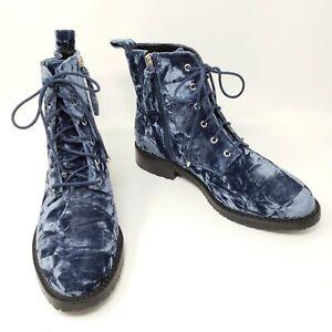 Rebecca Minkoff Gerry Womens 8.5 Blue Velvet Combat Boots Shoes $199 New