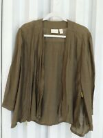 Chico's 3 (14-16) brown 3/4 sleeve fly away collarless jacket rayon blend