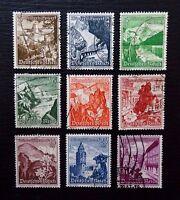 Deutsches Reich 675-683 , Winterhilfswerk: Landschaften/Alpenblumen , Gestempelt