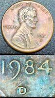 1984 D Multi-error Lincoln Penny -Doubled DDR-001 +D/D +OMM +NICE TONING /CAMEO!