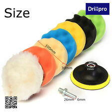 Drillpro 4'' Sponge Polishing Waxing Buffing Pads Kit Compound Auto Car + Drill